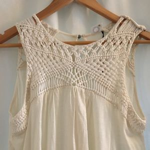 Anthropologie Embroidered Creme Tank Top.